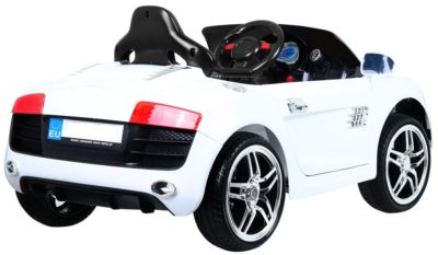 Elektromos Kisautó Audi-ra hasonlító AR8-Nyitható Csomagtartó-Fekete