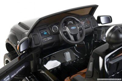 elektromos-kisautó-ford-raptor-rendőrautó-kétüléses-slusszkulcs-sziréna-hangosbeszélő-villogó-nyitható-motorháztető-lenyitható-platós-rész-takaróponyvával-fekete