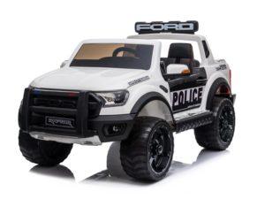 elektromos-kisautó-ford-raptor-rendőrautó-kétüléses-slusszkulcs-sziréna-hangosbeszélő-villogó-nyitható-motorháztető-lenyitható-platós-rész-fehér