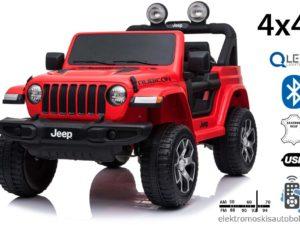 elektromos-kisautó-jeep-wrangler-kapcsolható-4-kerék-meghajtás-nyitható-motorháztető-slusszkulcs-2-üléses-járó-motorhang-takaróponyvával-piros
