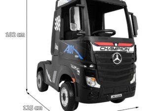 Elektromos Kisautó-Kamion-Mercedes Actros-4 Kerék meghajtással-Takaróponyvával-2 x 12V-Fekete