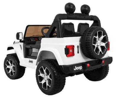 Elektromos kisautó JEEP Wrangler-Kapcsolható 4 Kerék Meghajtás-Nyitható motorháztető-Slusszkulcs-2 Üléses-Járó motorhang-Fehér