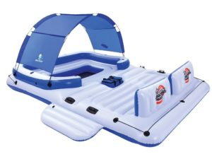 BESTWAY Trópusi Úszó Sziget-389 cm x 274cm-Árnyékolóval-Hűtőtáskával-6 db. Pohártartóval-540 kg. Terhelhetőség-6 Személyes