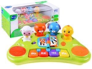 Hola Interaktív Állatos Zongora-Hang és Fényeffektusokkal-3 játékmóddal
