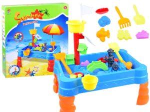 Kalózos Játszóasztal 2 in 1-Homokózóba vagy Vízi Játékként-Gereblyével-Lapáttal-6 homokozó formával
