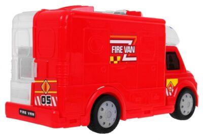 Nagy méretű Tűzoltóautó-Zárható Konténerrel-Fény és Hanghatásokkal-Működő Zseblámpával-Kiegészítőkkel