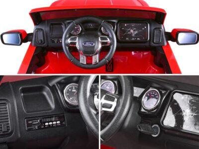 Elektromos Kisautó Ford Raptor-Kapcsolható 4 Kerék Meghajtás-Kétüléses-Slusszkulcs-Nyitható motorháztető-Lenyitható plató-Metál Kék
