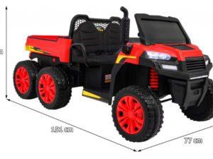elektromos mezőgazdasági kisautó farmer-billenthető platóval-4 kerék meghajtással-2 x 12v akksi-Állítható Ülés-kétszemélyes-piros