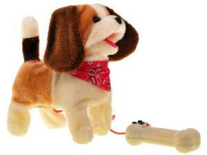 elemes interaktív sétáló kutya pórázzal-ugat-csóválja a farkát-több színben