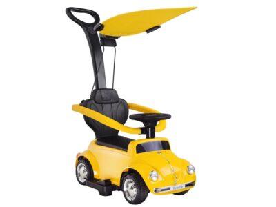 Átalakítható Elektromos Kisautó a legkisebbeknek-Volkswagen Beetle-Napfényellenzővel-6V-Sárga