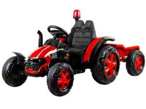 Elektromos Kistraktor lecsatlakoztatható Pótkocsival-Traktor hanggal-Távirányítóval-12V-Piros