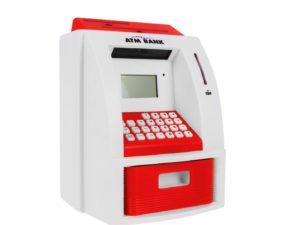 atm pénzautomata (persely) gyerekeknek-fény és hanghatásokkal-atm kártyával-pin zárral-számlaegyenleggel-ki és befizetéssel-számológéppel-piros