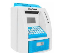 atm pénzautomata (persely) gyerekeknek-fény és hanghatásokkal-atm kártyával-pin zárral-számlaegyenleggel-ki és befizetéssel-számológéppel-kék