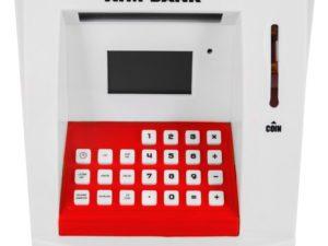 atm pénzautomata (persely) gyerekeknek-fény és hanghatásokkal-atm kártyával-pin zárral-számlaegyenleggel-ki és befizetéssel-számológéppel-piro