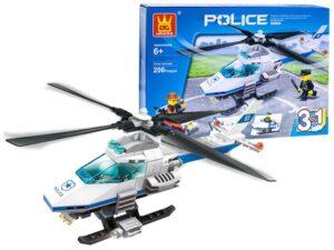 rendőrségi jármű Építő kockák-206 elemes-rendőrségi helikopter-repülő-robogó-kompatibilis más márkával