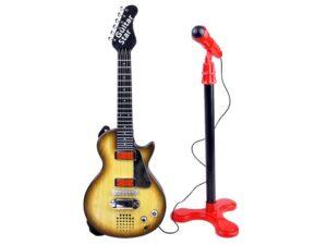 elemes rock gitár mikrofonnal-hevederrel gyerekeknek-hang és fényeffektusokkal-Állítható Állvánnyal-c