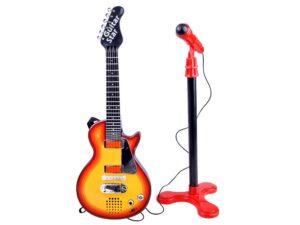 elemes rock gitár mikrofonnal gyerekeknek-hang és fényeffektusokkal-Állítható Állvánnyal-b