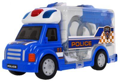 nagy méretű rendőrautó-zárható konténerrel-fény és hanghatásokkal-működő pisztollyal-kiegészítőkkel