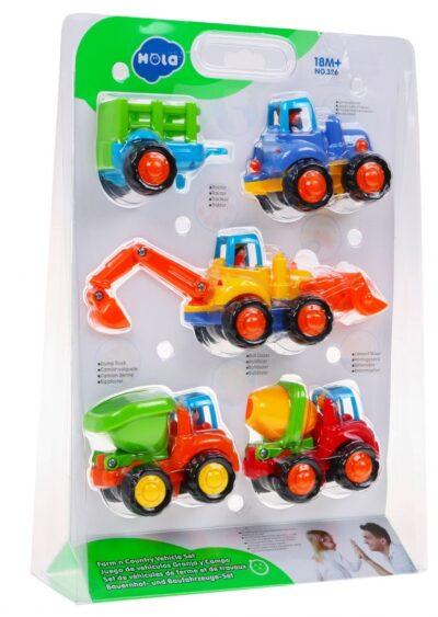 lendkerekes Építőipari jármű készlet-traktor-buldózer-mixer-billenős autó