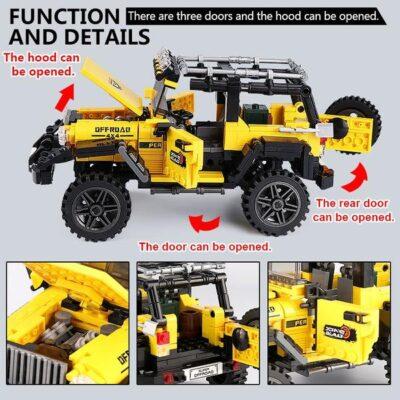 offroad terepjáró Építő kockák-610 elemes-lengés-csillapított kerékkel-nyitható motorháztető-ajtók-kompatibilis más márkával