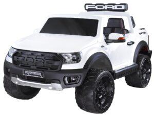 elektromos kisautó ford raptor-4 kerék meghajtás-kétüléses-slusszkulcs-nyitható motorháztető-lenyitható plató-fehér