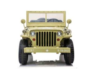 elektromos kisautó xxl-jeep willys-re hasonlító-kapcsolható 4 kerék meghajtás-3 Üléses-teljes értékű pótkerék-nyitható motorháztető-2.4 ghz-es távirányító-eva kerék-60kg terhelhetőség-bézs