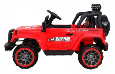 elektromos kisautó off road-4 kerékmeghajtással-csapágyas kerekekkel-slusszkulccsal-tárolóval-piros