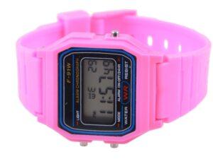 színes karóra gyerekeknek-stopper-Ébresztő-dátum-rózsaszín