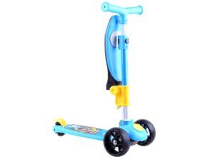 háromkerekű roller-lecsukható Üléssel-hátsó nyomófék-gumi kerekek-Állítható kormánymagasság-kék