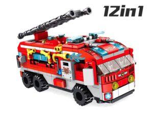12 az 1-ben tűzoltó járgányok Építő kockák-561 elemes-kompatibilis más márkával
