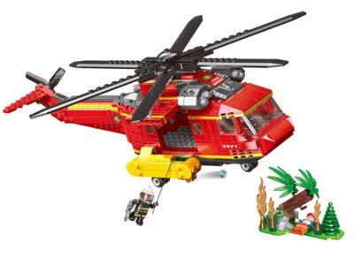 tűzoltósági helikopter Építő kockák-2 bábúval-kiegészítővel-761 db.-os-kompatibilis a legoval