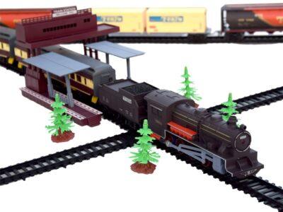 mega elemes vonatpálya-mozdonnyal-kocsikkal- hangeffektussal-világítással-996 cm