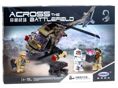 katonai helikopter Építő kockák-3 bábúval-621 db.-os-kompatibilis a legoval