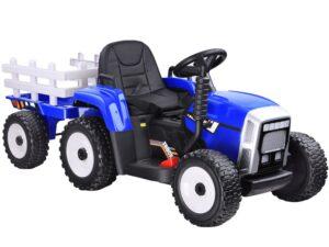 elektromos kistraktor-lecsatlakoztatható utánfutó-2.4 ghz-es távirányító-műbőr ülés-eva kerék-kapcsolható lámpák-12v-piros