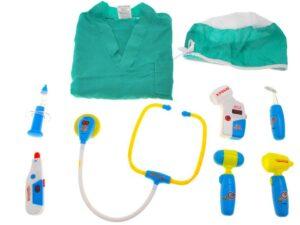szerepjáték-orvosi készlet és univerzális, tépőzáras orvosi ruházat-fény és hanghatásokkal