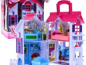 kinyitható babaház-többszintes villa-berendezéssel-család bábukkal-fogantyúval