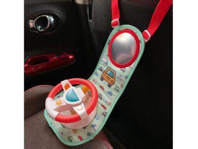 interaktív autókormány gyerekeknek-utazáshoz is-rögzíthető-hangeffektusok-motor hang-irányjelző stb-dallamok-fényhatások-biztonsági tükörrel