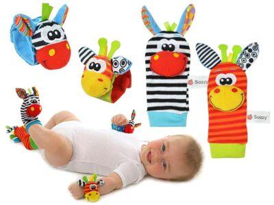 csörgő babáknak-kézre és lábra-csörgős zokni csörgőszalaggal-készlet 4 db