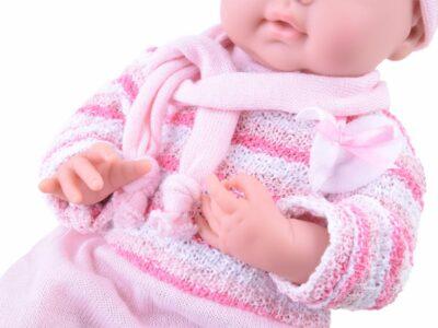 gyönyörű baba-rózsaszín ruhában-bilivel-cumival-Étkészlettel