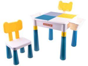 asztal székkel-2 az 1-ben-Átfordítható asztallap-legózáshoz-alkotáshoz-tárolókkal-könyvtartó Állvánnyal