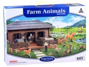 farm Állatokkal-49 cm-es istállóval-szekérrel-kiegészítőkkel