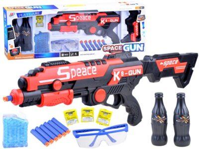 k8 gun puska habpatronnal-gélgolyókkal-védő szemüveggel-célzáshoz palackokkal-piros