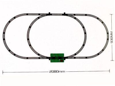 elemes vonatpálya 208 cm-es modern mozdonnyal-utaskocsikkal-világító első lámpával-hangeffektusokkal-kiegészítőkkel-vasútállomással-táblákkal-sorompó