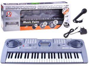 nagy-méretű szintetizátor-54 kulcs-mikrofonnal-hangerőszabályozó-mq-808usb-usb-100 ritmus-felvétel-lejátszás-töltővel-led kijelző