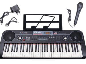 nagy méretű szintetizátor mikrofonnal-kottatartóval-led kijelzővel-töltővel-61-sztereó-200 ritmus-hangerőszabályozó-fekete