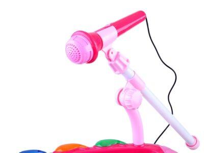 gyermek szintetizátor-háttérzenével-székkel-mikrofonnal-felvétel funkcióval-fényhatásokkalrózsaszín