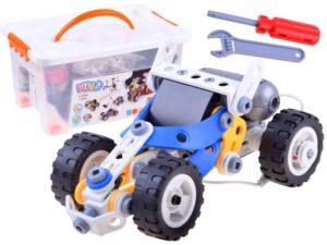 Építő elemek tárolódobozban-10 féle mozgó járművet-robotot stb. lehet Építeni-motorhajtással-113 elemes