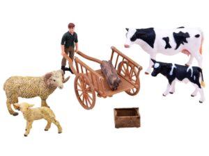 kézzel festett Állat figurák 4 db-gazdával-talicskával-kiegészítőkkel