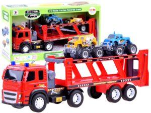 lendkerekes nagy-méretű kamion trailerrel-2 db. autóval-rámpával-hang és fényeffektusokkal-piros
