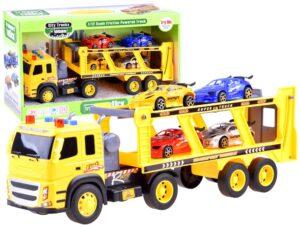 lendkerekes nagy-méretű kamion trailerrel-4 db.autóval-rámpával-hang és fényeffektusokkal-sárga